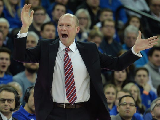Seton Hall Pirates head coach Kevin Willard reacts to a call in the game against the Creighton Bluejays