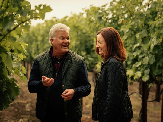 Winemakers Ted Edwards and Kristy Melton from Freemark Abbey in St. Helena, California.