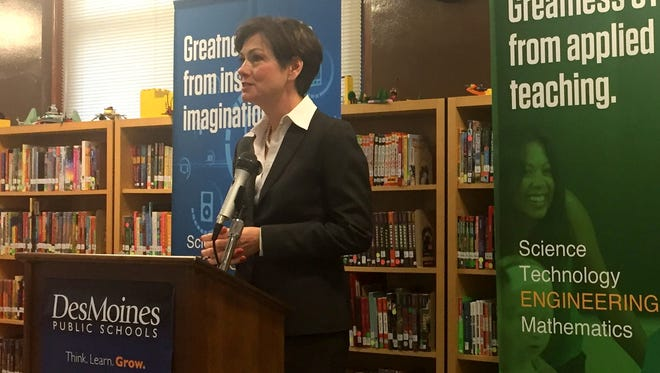 Lt. Gov. Kim Reynolds speaks at Greenwood Elementary School in Des Moines on Monday, May 1,2017. She discussed a computer science initiative for Iowa's schools that was approved by  the Iowa Legislature.