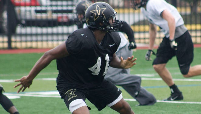 Vanderbilt's Zach Cunningham works out at First Bossier's Freedom Fields on Friday.