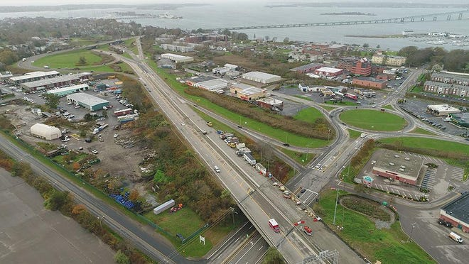 An aerial view of the Pell Bridge ramps in Newport's North End.