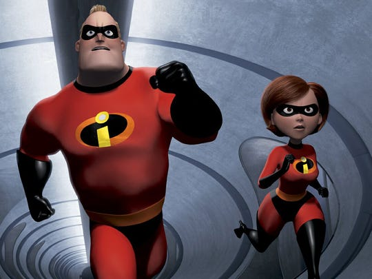 """In Pixar's """"The Incredibles,"""" a superhero family races to save the day: (from left) speedy 10-year old Dash, shy teenager Violet, strong and heroic Mr. Incredible and ultra-flexible Elastigirl."""