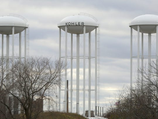 This photo from November 2015 shows the landmark Kohler Co. water towers in the Village of Kohler, where the firm plans to shut down its engine-manufacturing operations and move the work to Hattiesburg, Mississippi.