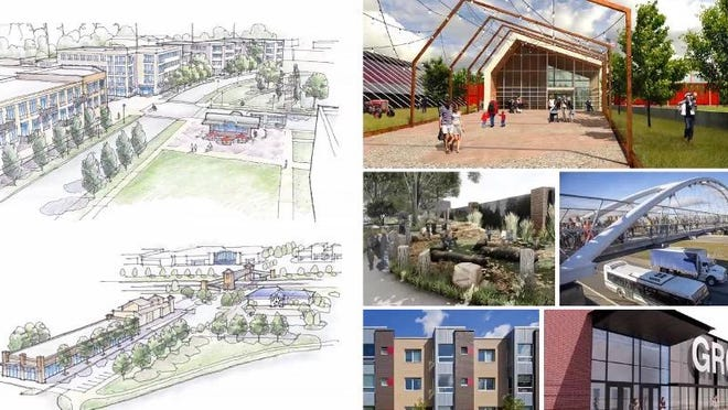 A collage of renderings show what the U.S.-31 Corridor might look like under the new Holland Township Comprehensive Master Plan.