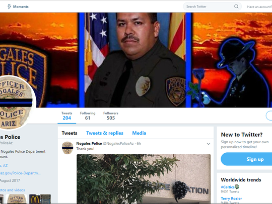 A screenshot shows the changing of the Nogales Police