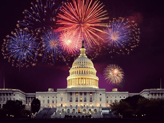 Fireworks explode over the U.S. Capitol on the Fourth