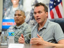 Secretary of the Army Eric Fanning speaks during a press conference at Guam National Guard's Joint Forces Headquarters in Barrigada on Friday, July 29.