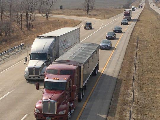 Traffic on Interstate Highway 80 near Mitchellville,