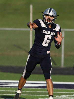 Fairless quarterback Ethan Brindley delivers a pass against Sandy Valley in the 2019 season opener.