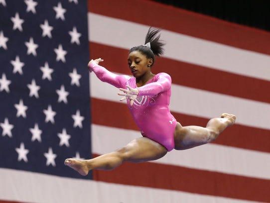 Gymnast Simone Biles Makes Olympic Statement At American Cup