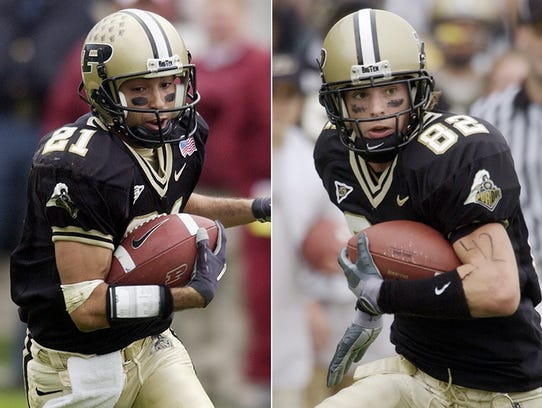 Purdue wide receivers Taylor Stubblefield (left) and