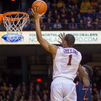 Jan 24, 2015; Minneapolis, MN, USA; Minnesota Gophers guard Andre Hollins (1) shoots the ball in the second half against the Illinois Fighting Illini at Williams Arena. The Gophers won 79-71. Mandatory Credit: Brad Rempel-USA TODAY Sports