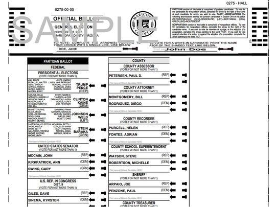 Un ejemplo de la boleta que reciben los votantes en Arizona para la Elección General del 8 de noviembre.