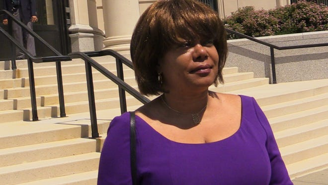 Former Spring Valley Mayor Noramie Jasmin exits the U.S. Courthouse in White Plains Aug. 7, 2015 after receiving a four year sentence.