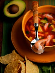 Shrimp and avocado gazpacho.