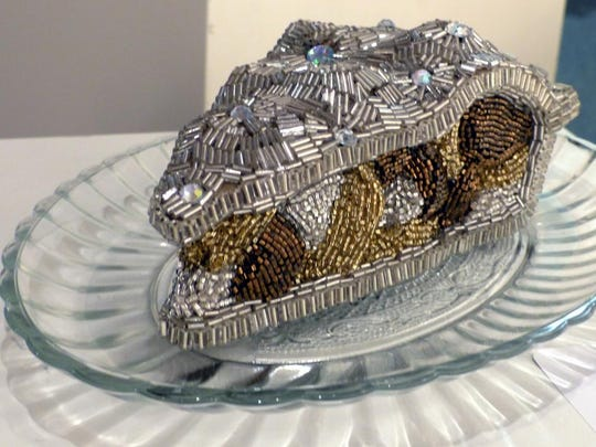 """Slice o Pie,"" and other beaded art works by Sue Majewski are on exhibit at City Gallery in Farmington Hills."