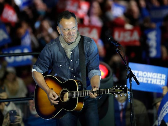 Bruce Springsteen performs during a Hillary Clinton campaign event at Independence Mall on Monday, Nov. 7, 2016 in Philadelphia.