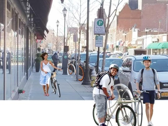 A rendering from a recent traffic and mobility report showing what bike racks in Port Chester would look like