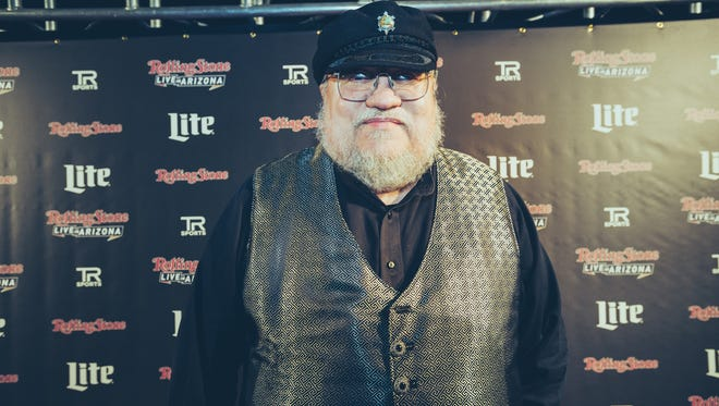 George R. R. Martin, author of the Game of Thrones series, on the red carpet at the Rolling Stone Super Bowl party, Jan. 31, 2015.