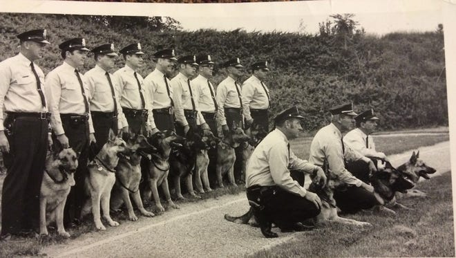 York City Police Officer Ron Heist (third from left) joined the department's K-9 corps in the late 1960s. Friends say his love of dogs began at that time. (Photo courtesy of Dennis Smith)