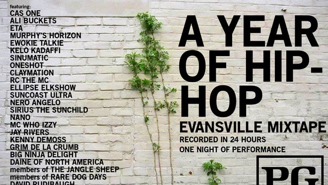 A Year of Hip Hop Evansville Mixtape promotional poster.