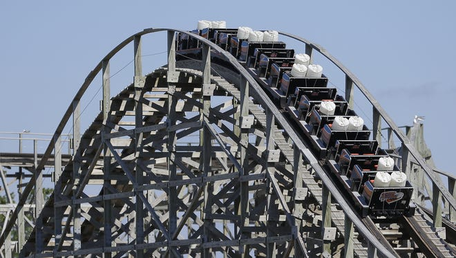 Bay Beach Amusement Park officials tested the Zippin Pippin Tuesday, running the ride using water barrels to simulate human passengers for test runs. A mechanical breakdown that injured three people forced the ride's closure last month.