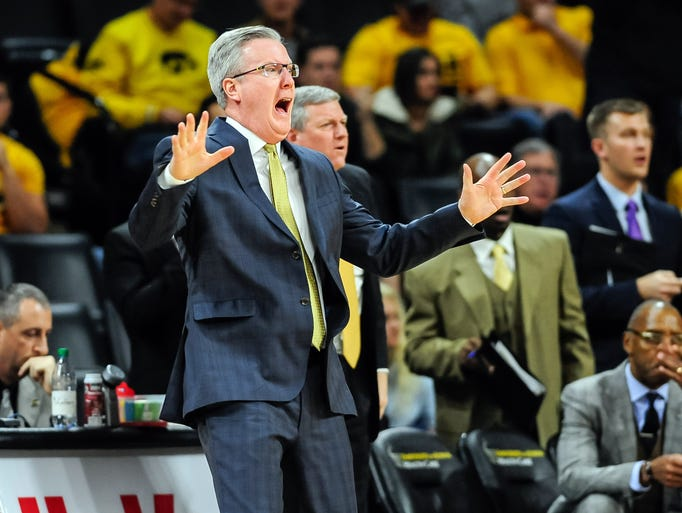 Iowa Hawkeyes head coach Fran McCaffery reacts during