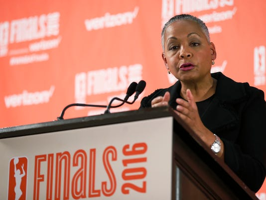 """FILE - In this Sunday, Oct. 9, 2016, file photo, WNBA President Lisa Borders talks during a press conference prior to Game 1 of the WNBA basketball finals with the Minnesota Lynx against the Los Angeles Sparks in Minneapolis. The WNBA will stream 20 games a year over the next few seasons on Twitter in a deal announced Monday, May 1, 2017. """"We are thrilled to bring live WNBA games to Twitter, which will allow us to further showcase our league to a global audience,"""" Borders said. (AP Photo/Stacy Bengs, File)"""