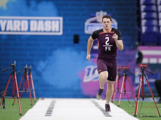 Rice kicker Jack Fox runs the 40-yard dash at the NFL football scouting combine in Indianapolis, Friday, March 1, 2019. (AP Photo/Michael Conroy)
