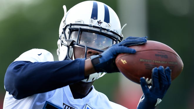 Titans wide receiver Dorial Green-Beckham makes a catch during minicamp at Saint Thomas Sports Park on June 14, 2016.