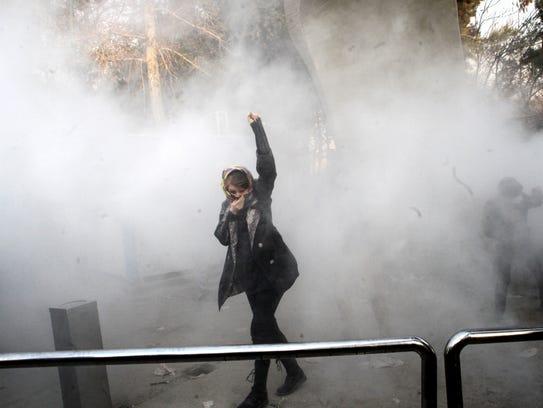An anti-government protest in Tehran, Iran, on Dec.