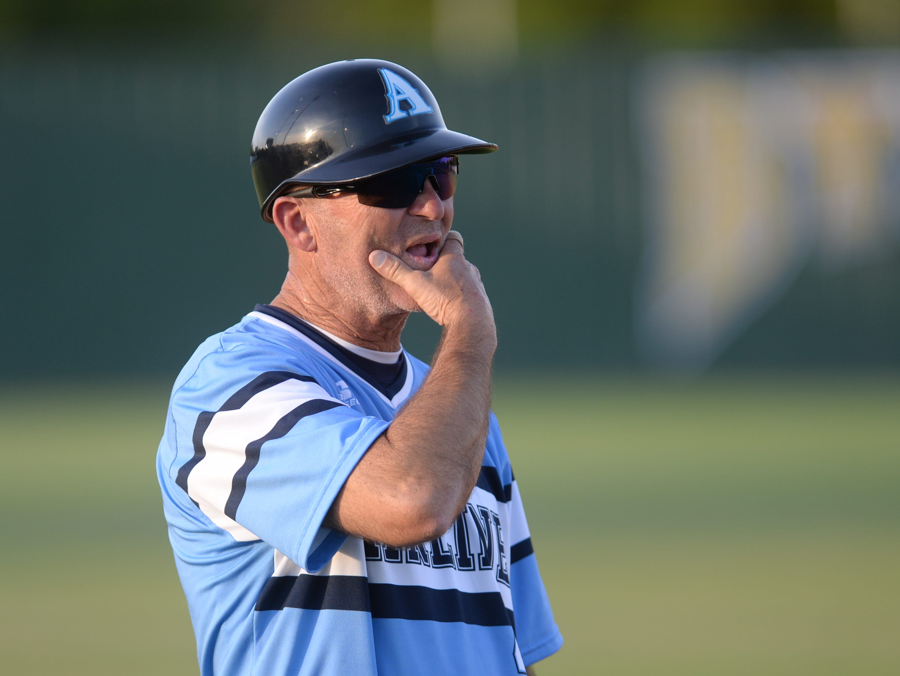 Airline coach Toby Todd looks on in the first game of his team's sweep of Byrd this week.