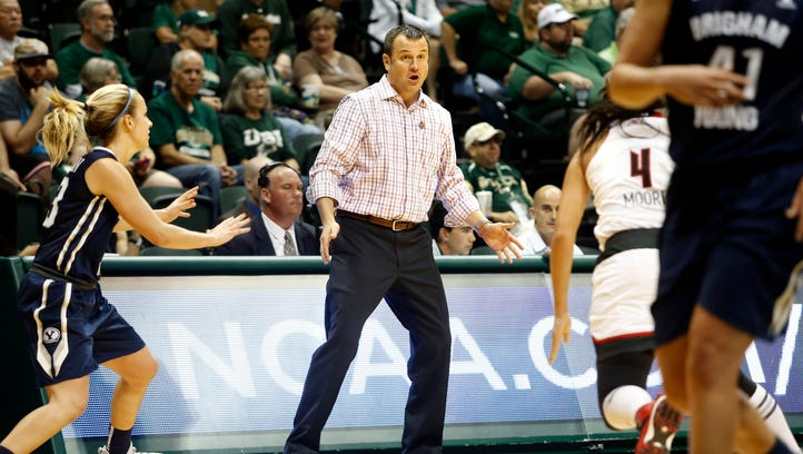 Louisville Cardinals head coach Jeff Walz reacts on the sidelines during the first half of an NCAA women's college basketball tournament game against the Brigham Young Cougars Saturday, March 21, 2015, in Tampa, Fla. (AP Photo/Brian Blanco)