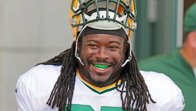 Green Bay Packers running back Eddie Lacy (27) smles during training camp at Ray Nitschke Field August 29, 2016.