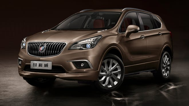 """The new Buick Envision midsize SUV unveiled last year at the Chengdu (China) Auto Show. The Envision (Chinese name """"Ang Ke Wei"""") is slated for U.S. sale."""