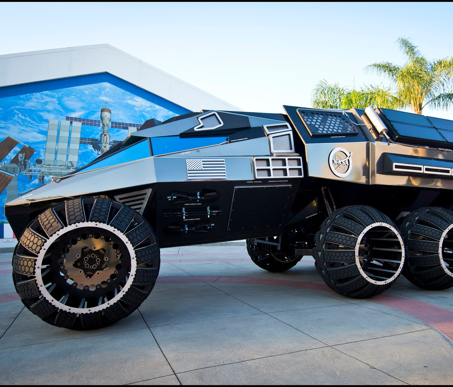 The Mars Rover concept vehicle was commissioned by Kennedy Space Center Visitor Complex as an educational tool and to inspire the public about the future of space exploration and interplanetary travel.