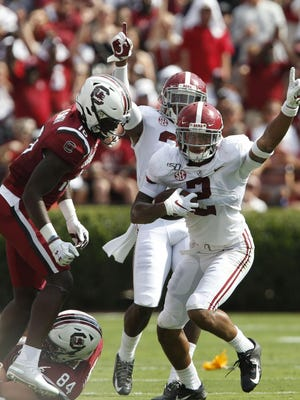 Alabama defensive back Patrick Surtain II (2) celebrates an interception that was overturned due to a penalty during Alabama's 47-23 victory over South Carolina in Colombia Saturday, Sept. 14, 2019.