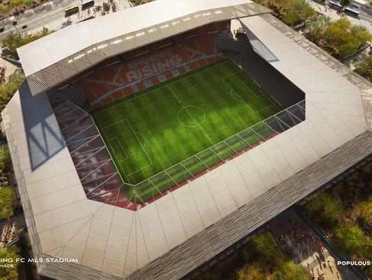 Aerial rendering view of future Phoenix Rising FC stadium
