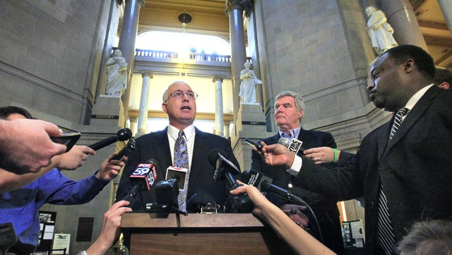 """Sen. Mike Delph, R-Carmel, called the news media to a news conference in the Indiana Statehouse Rotunda on Monday, February 17, 2014 to say that he wants to see HJR-3 called back for second reading and the controversial second sentence about civil unions reinserted, or else he will vote """"no"""" on the measure on third reading, which is on the Senate's calendar Monday. Curt Smith, president of the Indiana Family Institute, stands next to him. Last week, the Senate declined to amend HJR-3 on second reading to reinsert the sentence."""