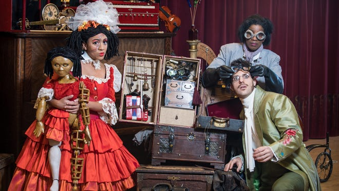 """Cecilia Davis (left), Ariana Douglas and John Kaneklides playing leading roles in Skylight Music Theatre's """"Tales of Hoffmann."""""""
