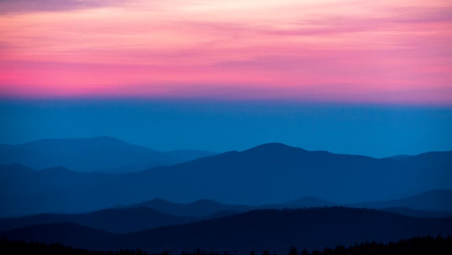 The sun sets over the Smoky Mountains as seen from Clingmans Dome on May 12, 2018.