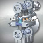 An opposed-piston engine packages two pistons in each cylinder and produces more power density than a conventional single-piston-per-cylinder engine.