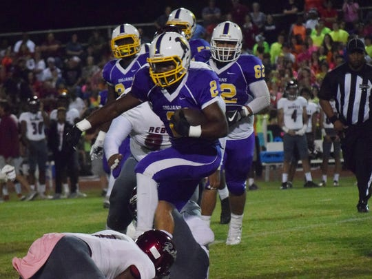 ASH's Trevon Mosley (2) runs the ball against Pineville in a Week 6 game. Mosley rushed for 243 yards in that game and followed that up with a 351-yard game against Natchitoches Central in Week 9.