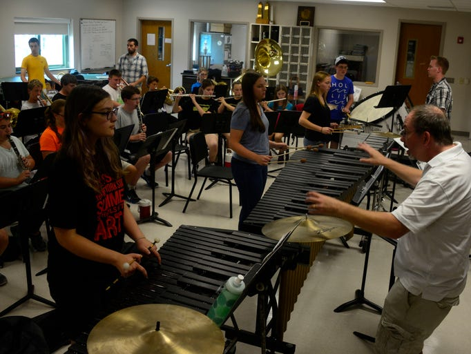 The veterans and rookies of the Vestal's marching band comes together for the first time to start rehearsals for their upcoming season during the two-week long band camp.