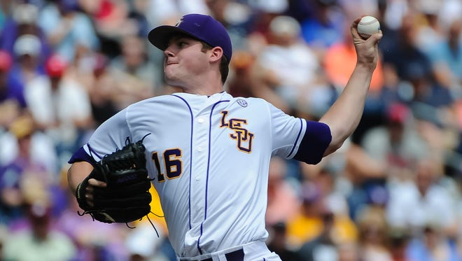 LSU Tigers pitcher Jared Poche' (16) started the game against the TCU Horned Frogs in the 2015 College World Series at TD Ameritrade Park.