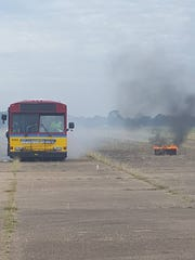 Multiple agencies responded for the safety drill, which saw a staged fire representing a burning plane extinguished.