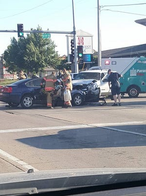 A woman was injured in a head-on collision at 57th and Louise Wednesday night.
