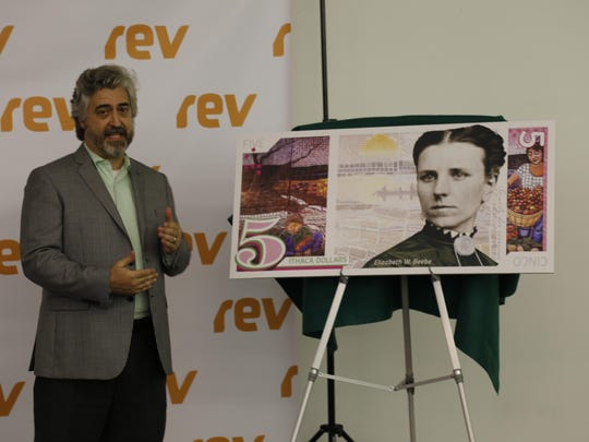 Graphic designer Chris Dietrich explains the design of the new bill, featuring the likeness of Elizabeth Beebe.