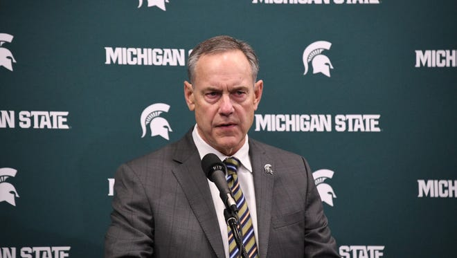 Mark Dantonio makes a statement Friday at the Breslin Center, defending himself against an ESPN report.