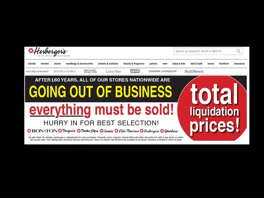 The store's parent companyBon-Ton Stores Inc. announced Herberger's stores nationwide are closing earlier this week.Signs announcing going-out-of-business sales have been posted in store and online.